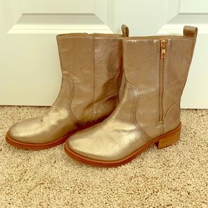 Tory Burch Gold Metallic Boots 6.5